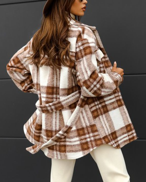 Plaid Button Up Self Belted Flap Pocket Coat gallery 15