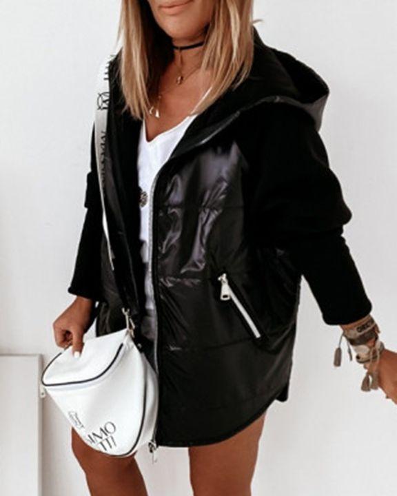 Zip Up Pocket Detail Hooded Jacket gallery 4