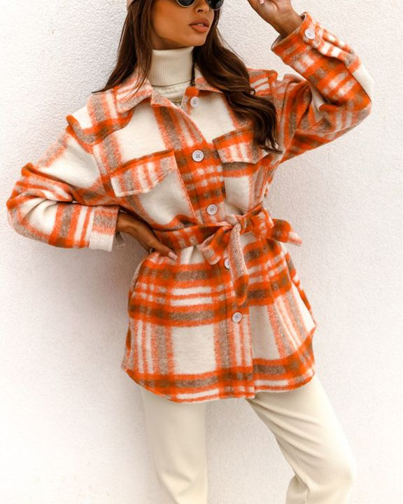 Plaid Button Up Self Belted Flap Pocket Coat gallery 1