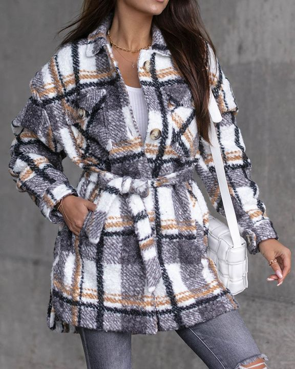 Plaid Print Button Through Pocket Detail Belted Coat gallery 3