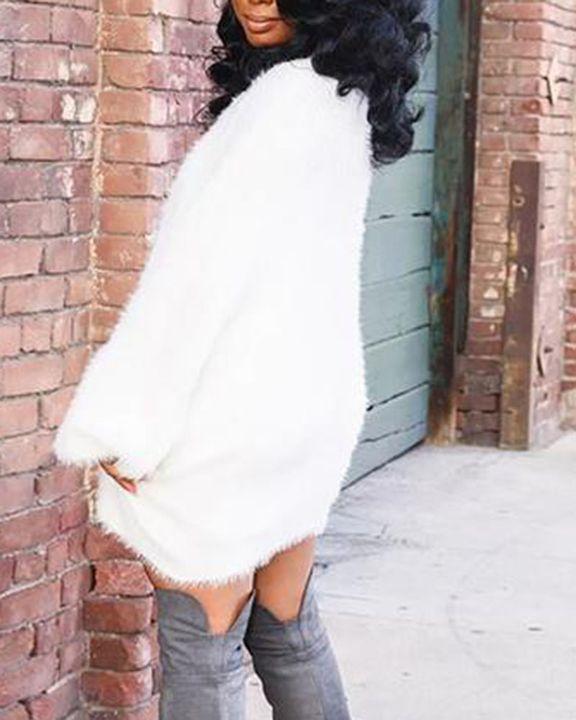 Solid Fuzzy Round Neck Mini Sweater Dress gallery 4