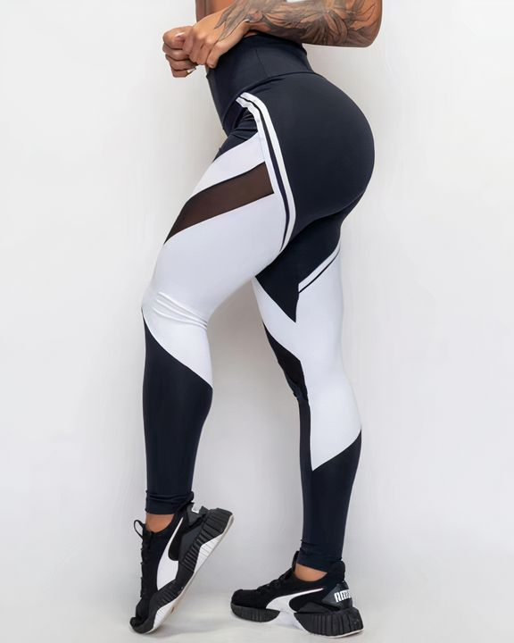 Two Tone Mesh Insert Wide Waistband Sports Leggings gallery 1