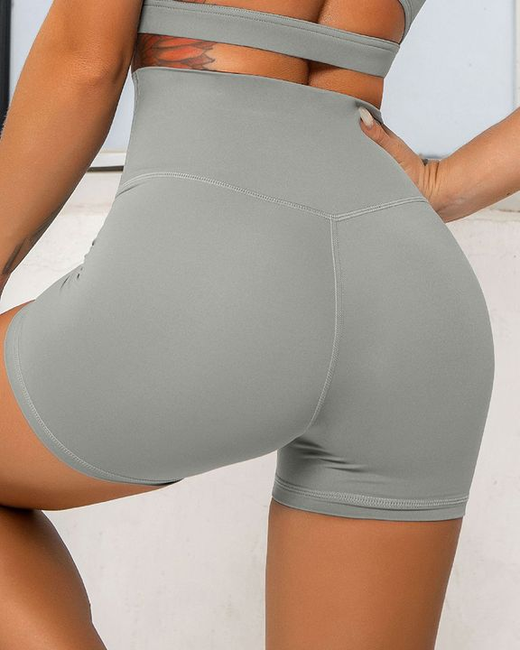Solid Wide Waistband Sports Shorts gallery 12