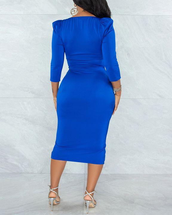 Solid Ruched Zip Front Split Hem Bodycon Midi Dress gallery 4