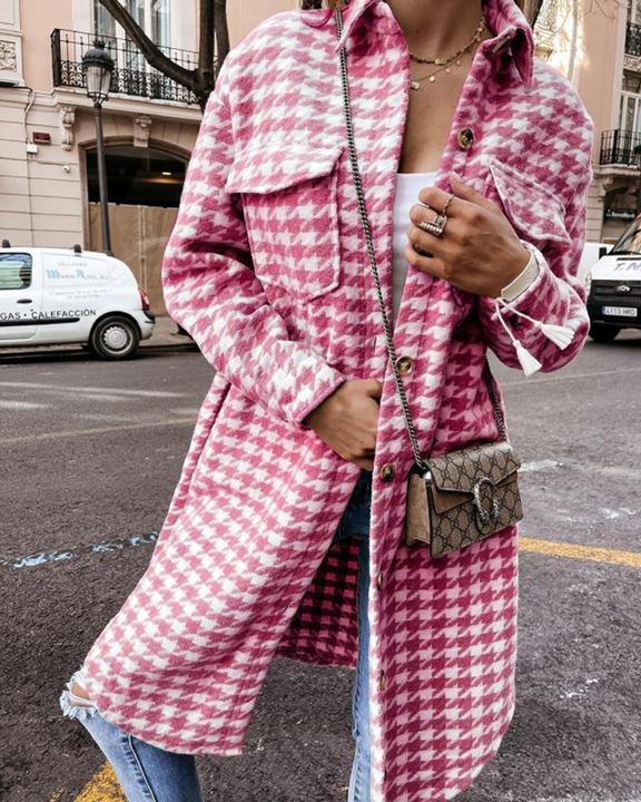 Houndstooth Pattern Button Up Curved Hem Coat gallery 4