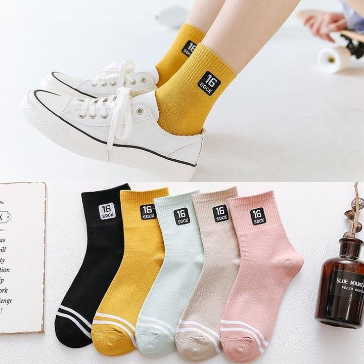 1 Pair Graphic Embroidery Ribbed Random Color Crew Socks gallery 5