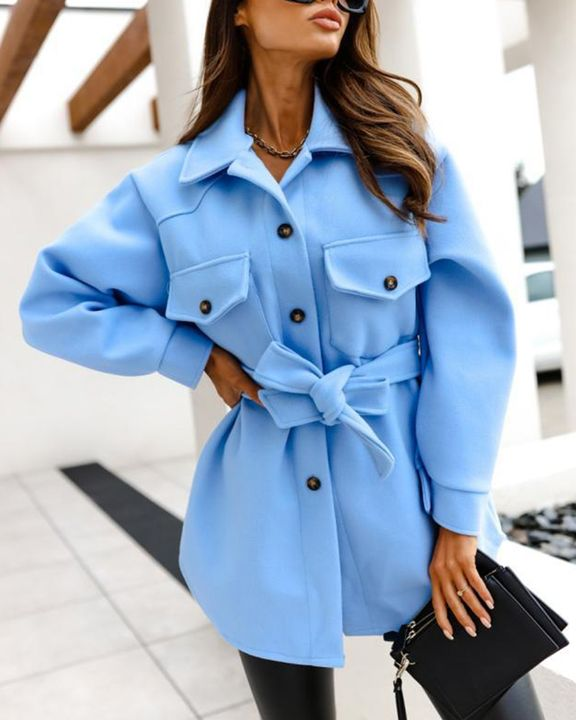 Solid Button Up Belted Flat Pocket Coat gallery 4