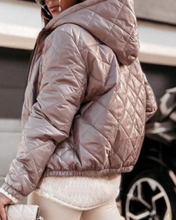 Argyle Quilted Zip Up Elastic Hem Hooded Jacket gallery 11