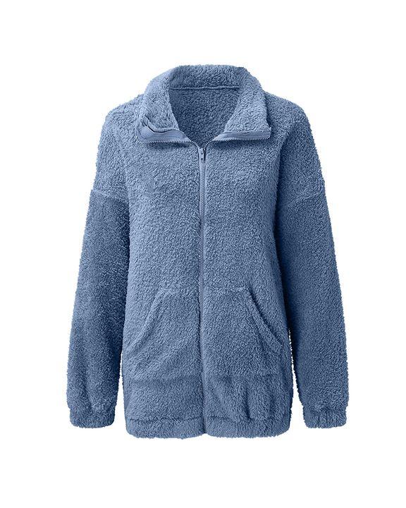 Solid Zip Up Pocket Detail Teddy Coat gallery 9