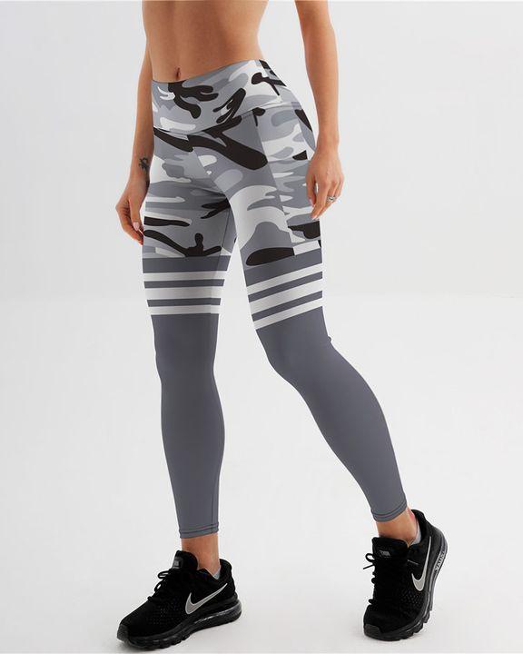 Camo Stripe Print High Waist Sports Leggings gallery 1