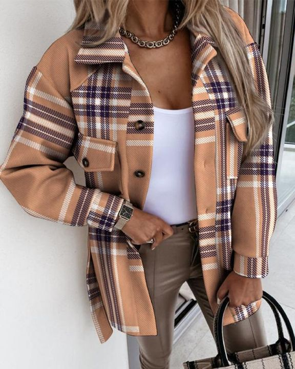Plaid Print Flap Pocket Button Front Belted Coat gallery 1