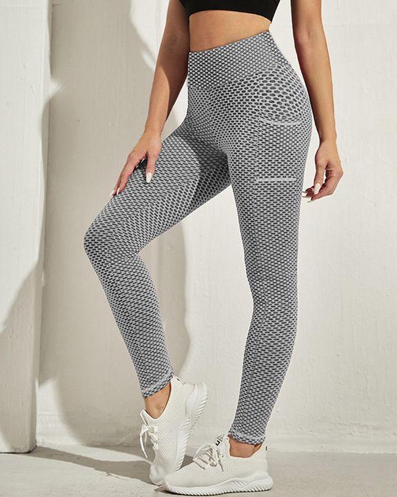 Honeycomb Textuerd Pocket Side Sports Leggings gallery 5