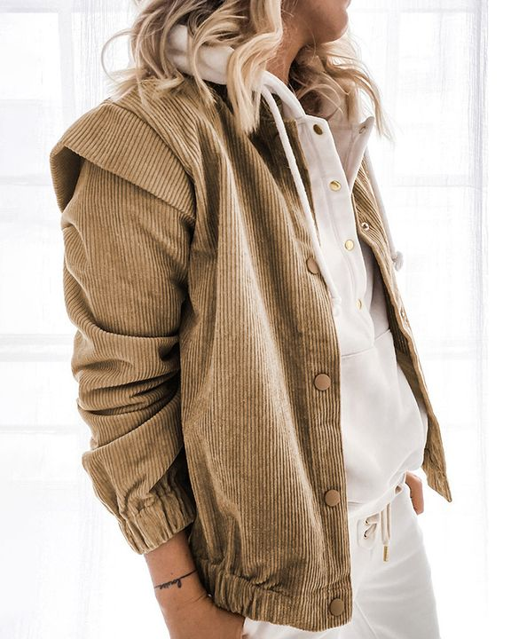 Solid Shoulder Padded Button Up Stand Collar Cord Coat gallery 2