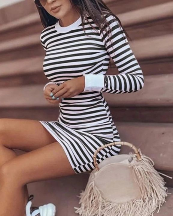 Striped Round Neck Long Sleeve Bodycon Mini Dress gallery 9