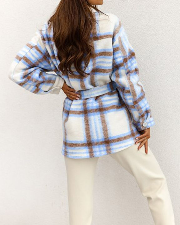 Plaid Button Up Self Belted Flap Pocket Coat gallery 9