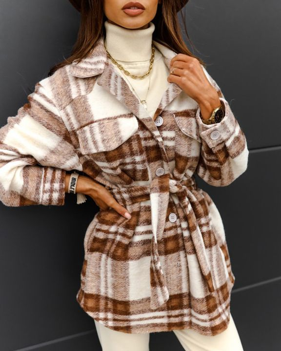 Plaid Button Up Self Belted Flap Pocket Coat gallery 13