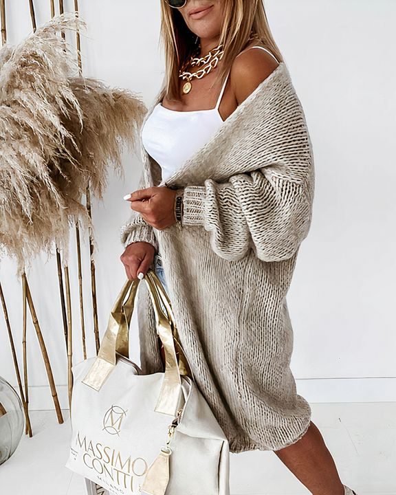 Solid Chunky Knit Drop Shoulder Open Front Cardigan gallery 5
