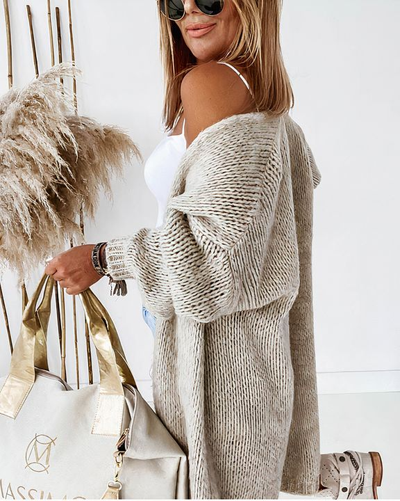 Solid Chunky Knit Drop Shoulder Open Front Cardigan gallery 6