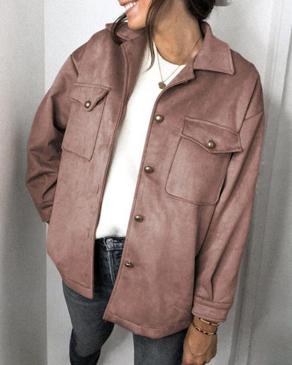 Solid Button Front Flat Pocket Jacket gallery 4