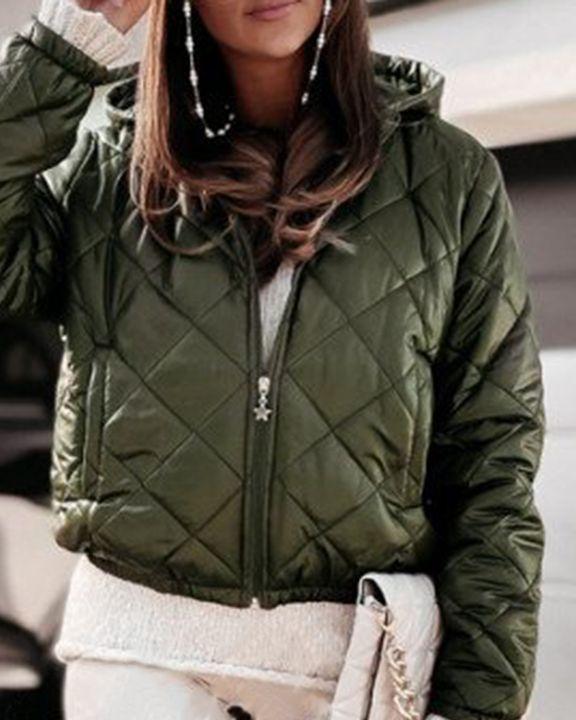 Argyle Quilted Zip Up Elastic Hem Hooded Jacket gallery 4