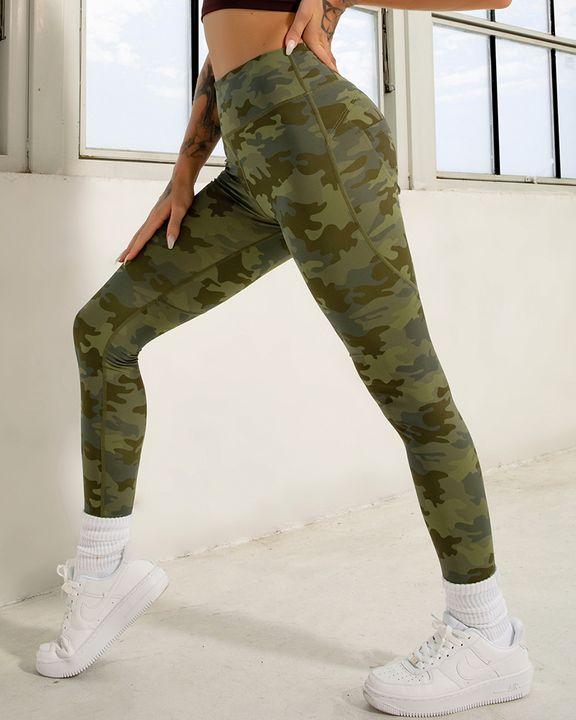Camo Print Pocket Back Butt Lifting Sports Leggings gallery 7