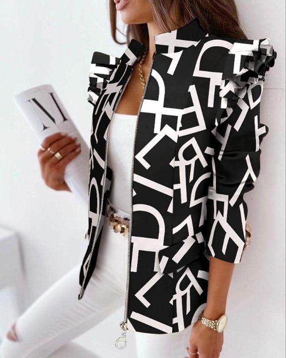 Zip Up Ruffle Trim Stand Collar Jacket gallery 6