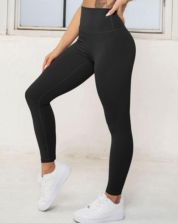 Solid High Waist Butt Lifting Cropped Sports Leggings gallery 6
