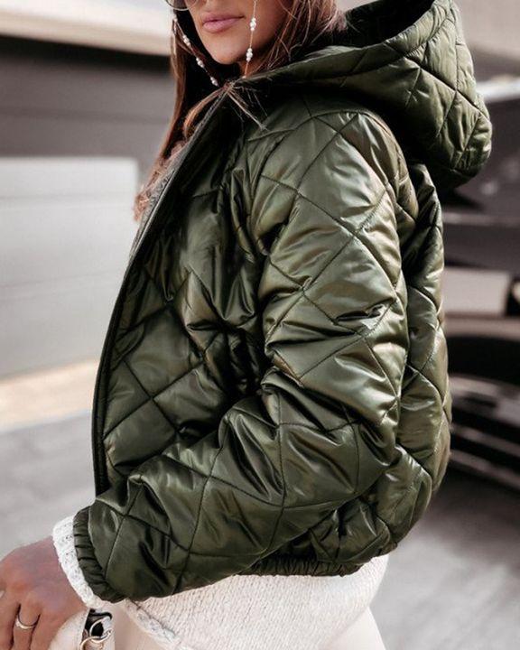 Argyle Quilted Zip Up Elastic Hem Hooded Jacket gallery 5