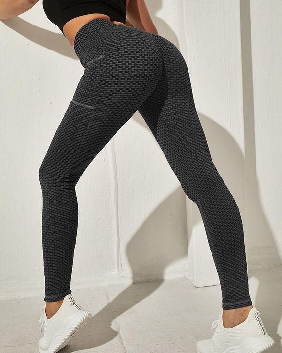Honeycomb Textuerd Pocket Side Sports Leggings gallery 18