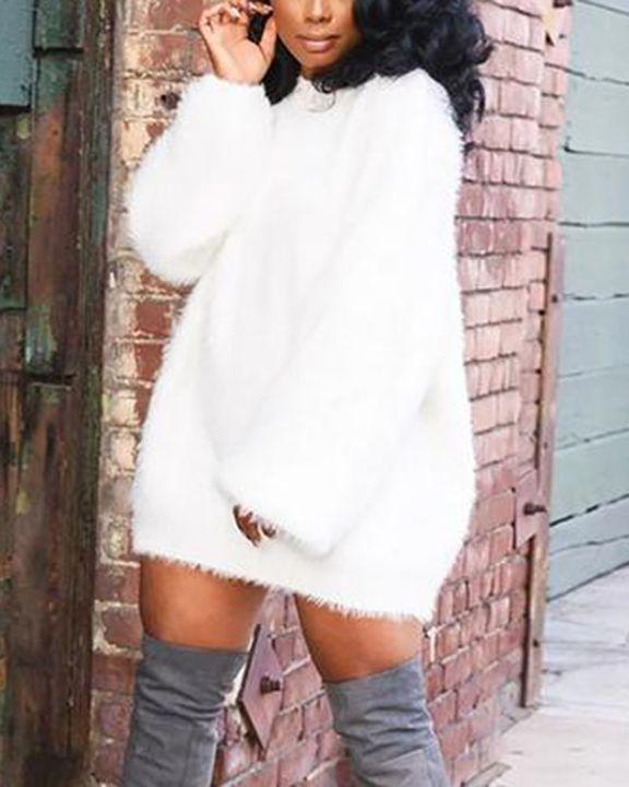 Solid Fuzzy Round Neck Mini Sweater Dress gallery 5