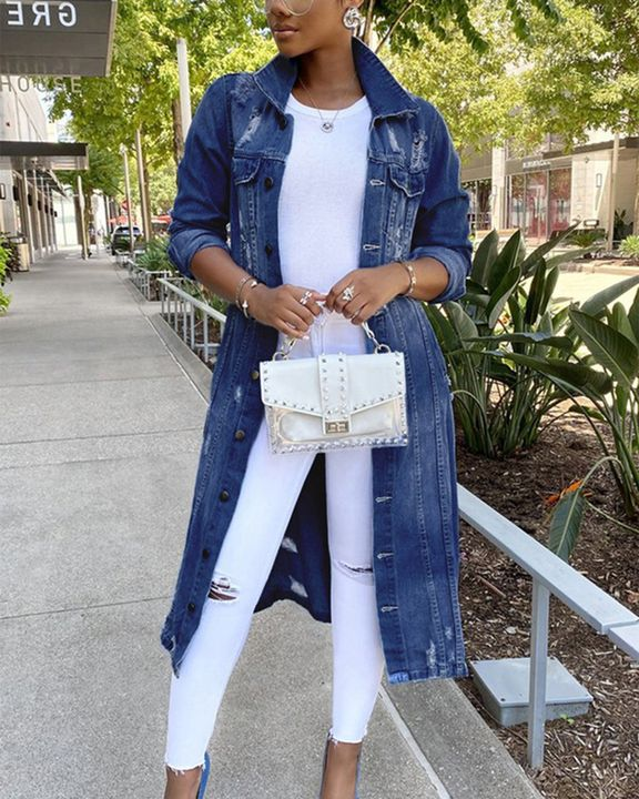 Ripped Button Up Flap Pocket Longline Denim Coat gallery 3