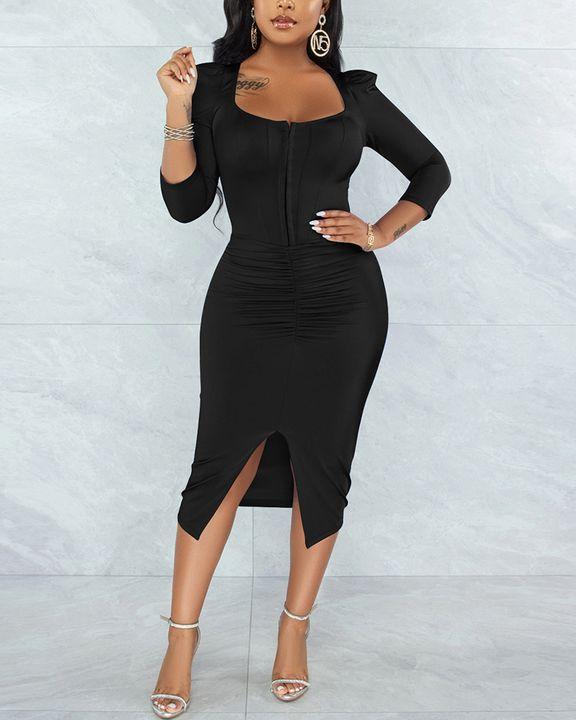 Solid Ruched Zip Front Split Hem Bodycon Midi Dress gallery 8