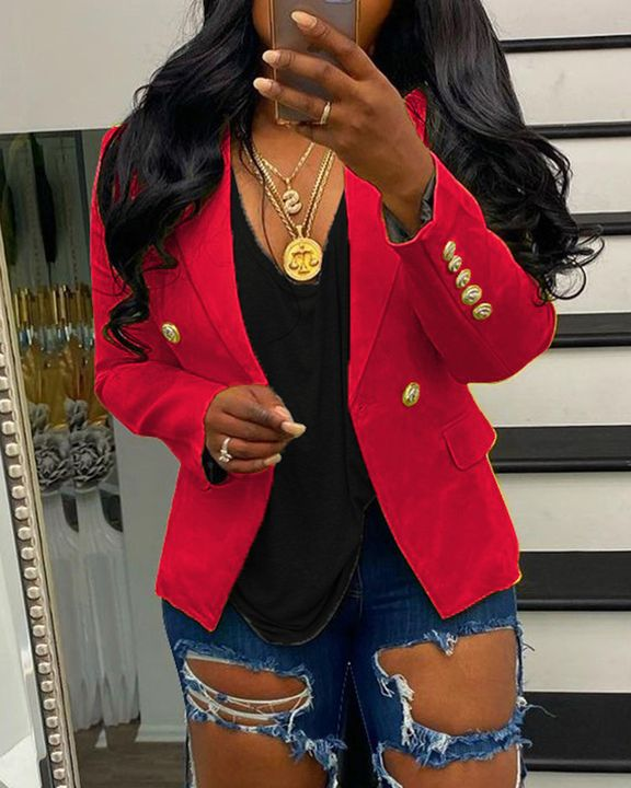 Solid Double Breasted Lapel Neck Blazer gallery 2