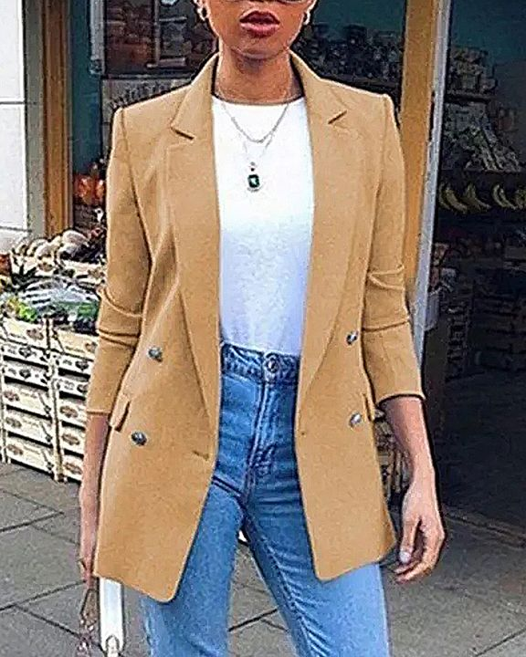 Solid Button Front Flap Pocket Lapel Neck Jacket gallery 1