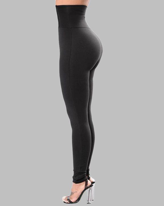 Solid Hook & Eye Corset Waist Butt Lifting Sports Leggings gallery 2
