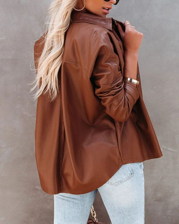 PU Leather Button Up Jacket gallery 19