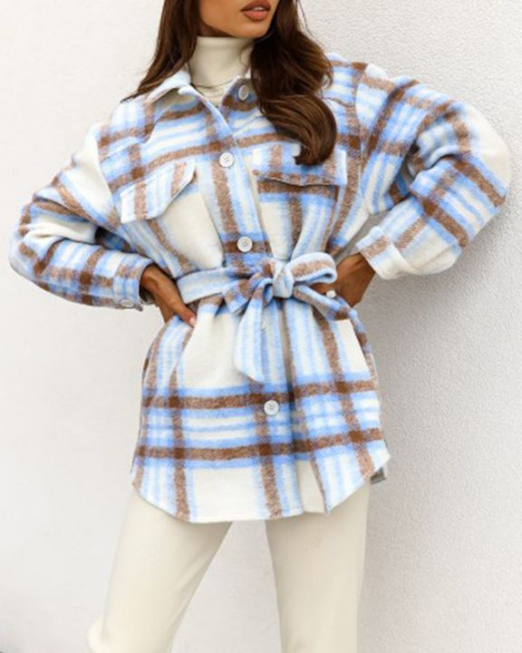 Plaid Button Up Self Belted Flap Pocket Coat gallery 5