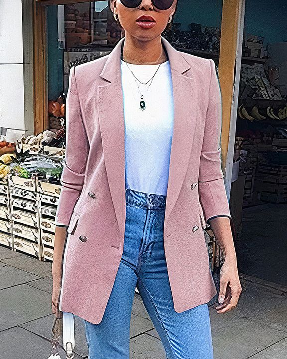 Solid Button Front Flap Pocket Lapel Neck Jacket gallery 4