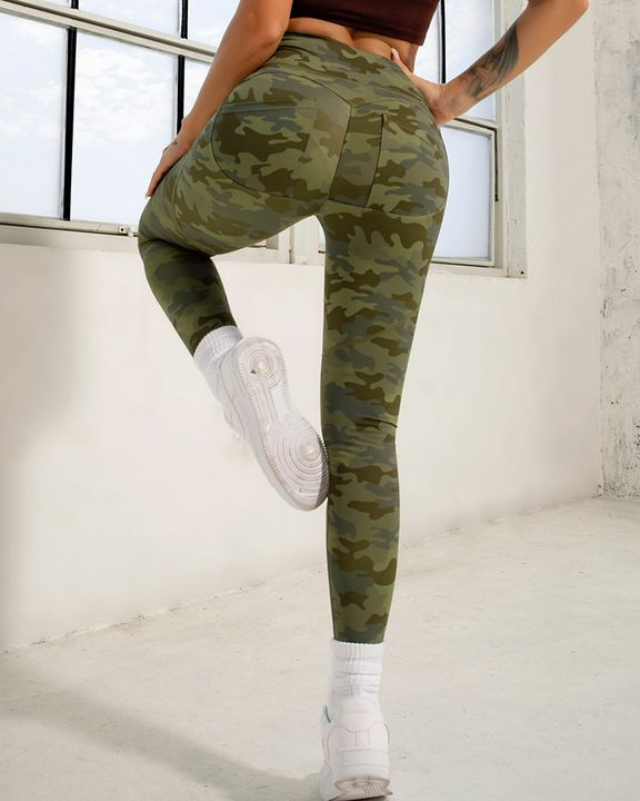 Camo Print Pocket Back Butt Lifting Sports Leggings gallery 4