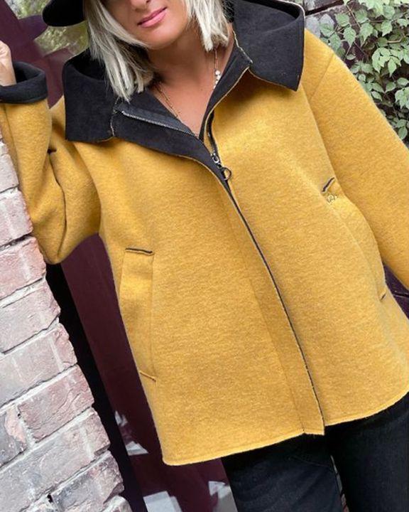 Colorblock Zip Up Slant Pocket Coat gallery 3