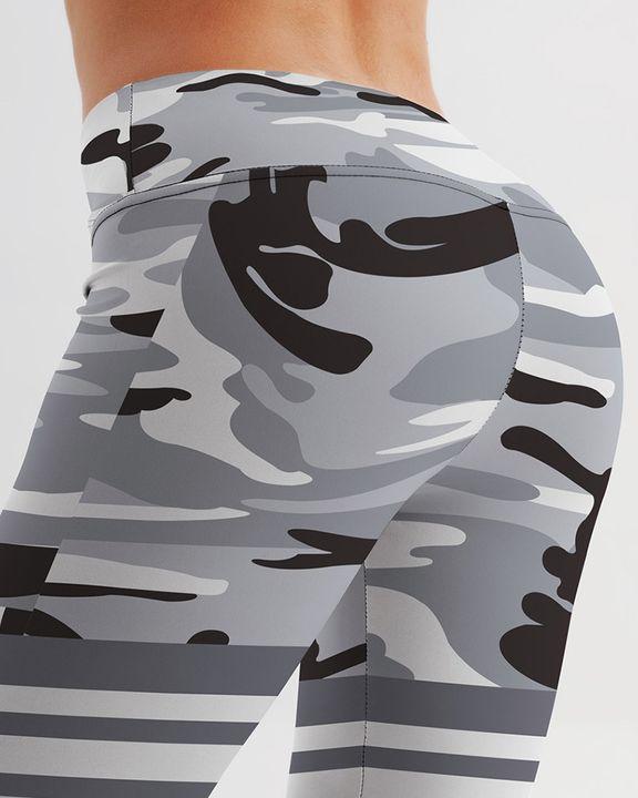 Camo Stripe Print High Waist Sports Leggings gallery 6