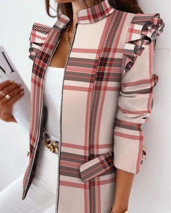 Zip Up Ruffle Trim Stand Collar Jacket gallery 5