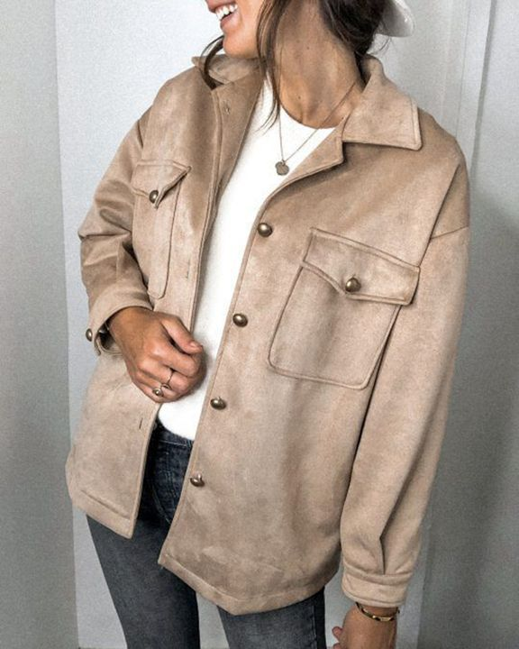 Solid Button Front Flat Pocket Jacket gallery 2