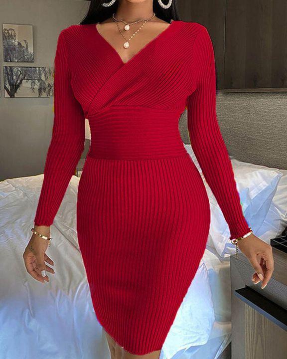 Solid Ribbed Surplice Neck Bodycon Mini Dress gallery 9