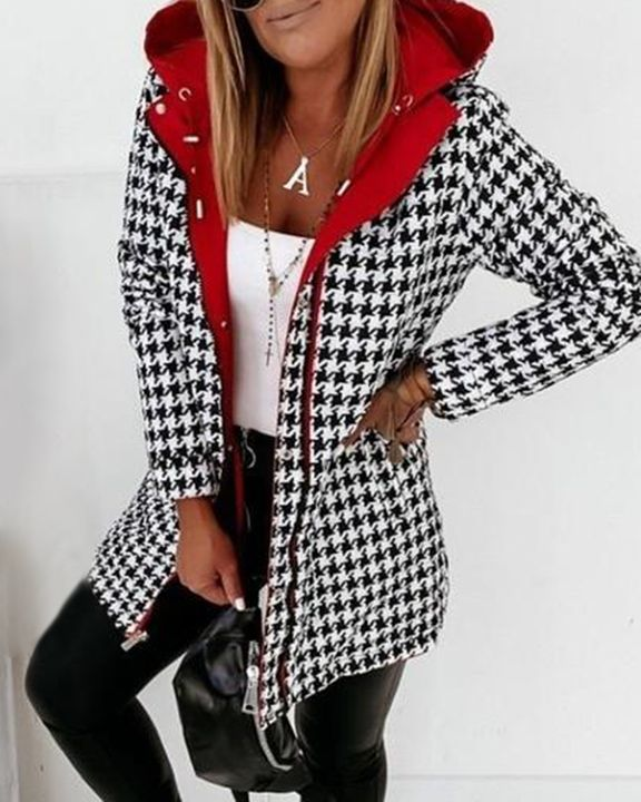Zip Up Drawstring Detail Houndstooth Hooded Coat gallery 4