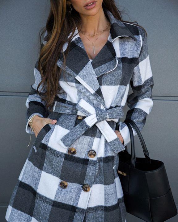 Plaid Print Double Breast Tweed Coat gallery 9