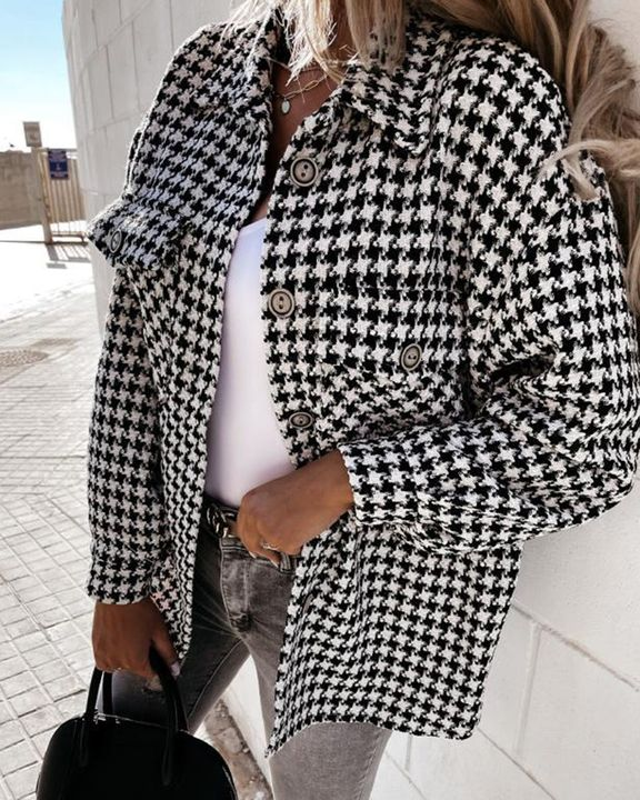 Houndstooth Pattern Button Up Flat Pocket Jacket gallery 4
