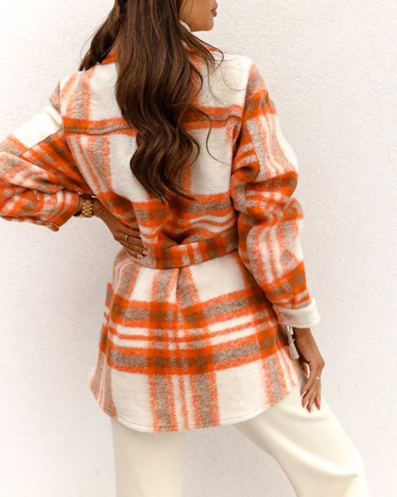 Plaid Button Up Self Belted Flap Pocket Coat gallery 4