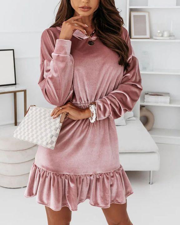 Velvet Solid Ruffle Hem Elastic Hooded Mini Dress gallery 5