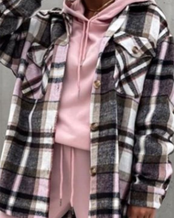 Plaid Button Up Flap Pocket Front Coat gallery 2
